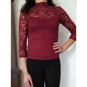 Lacy Mock Neck Top